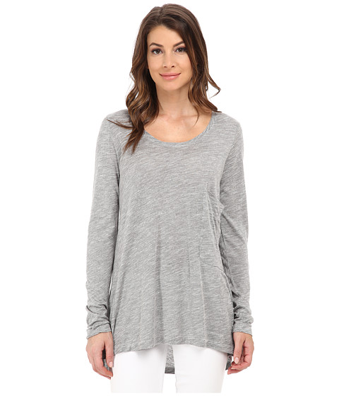 Allen Allen - Long Sleeve Big One-Pocket Tee (Grey Heather) Women's Long Sleeve Pullover