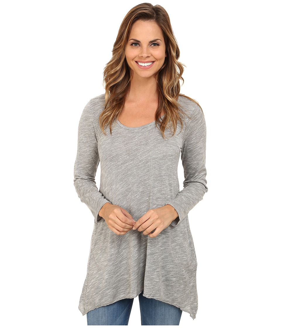 Allen Allen - Long Sleeve Scoop Angled Tee (Grey Heather) Women's Long Sleeve Pullover
