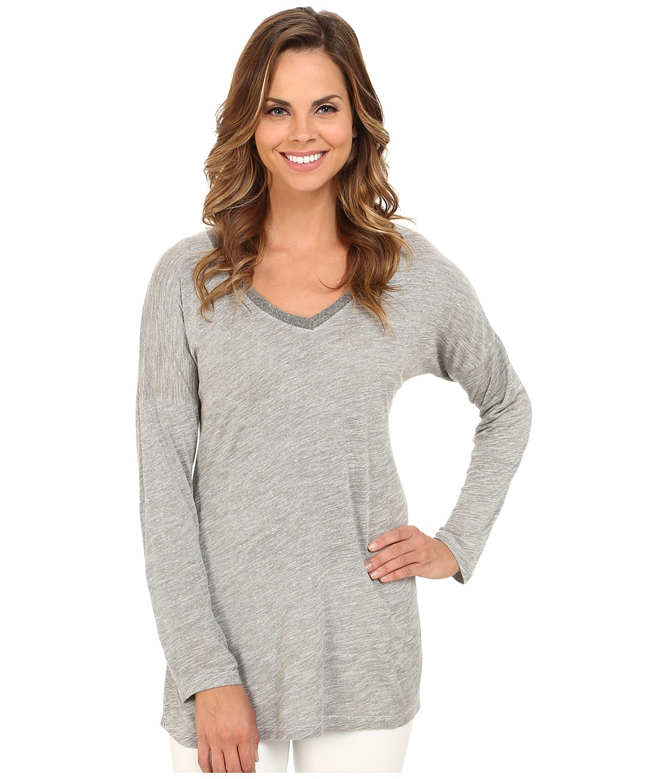 Allen Allen - Long Sleeve Dolman Rib Trim Vee (Grey Heather) Women's Long Sleeve Pullover