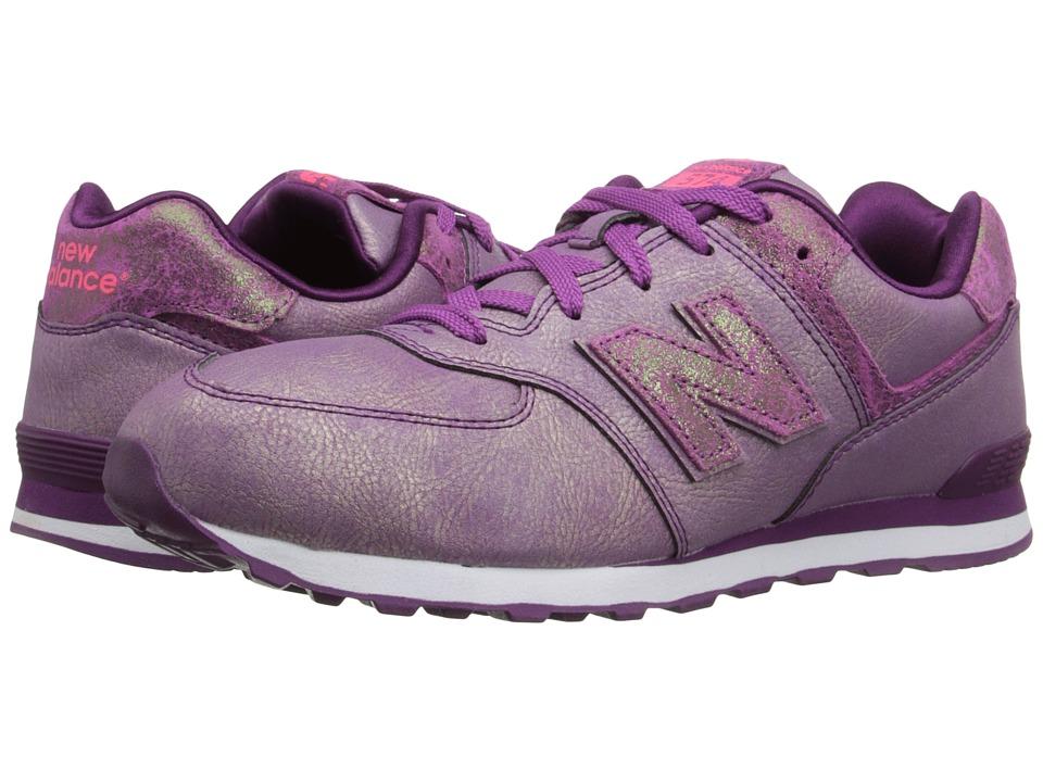 New Balance Kids - 574 Mineral Glow (Big Kid) (White/Purple) Girls Shoes