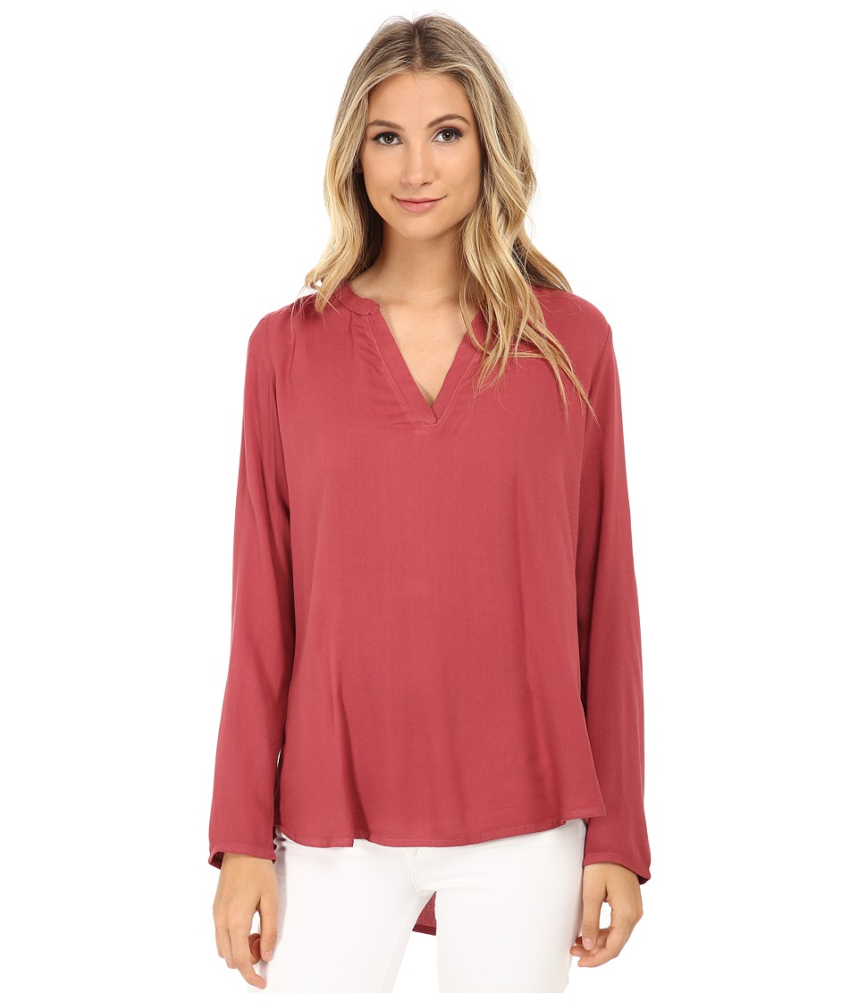 Allen Allen - Rayon Crepe Long Sleeve Gathered Splitneck Top (Apple) Women's Long Sleeve Pullover