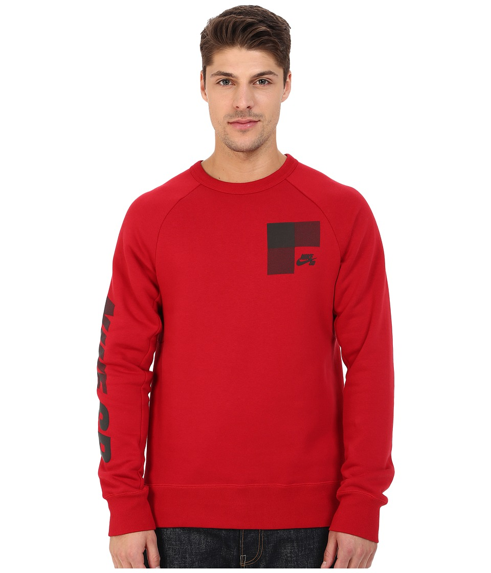 Nike SB - SB Icon Buffalo Plaid Fleece Crew (Gym Red/Black) Men's Long Sleeve Pullover