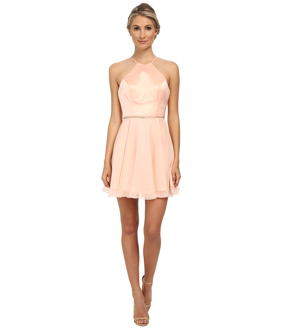 Faviana - Heavy Satin Halter Dress w/ Rhinestone 7652 (Soft Peach) Women's Dress