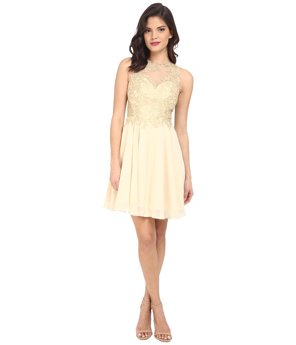 Faviana - Glamour Lace Chiffon Dress S7668 (Nude) Women's Dress
