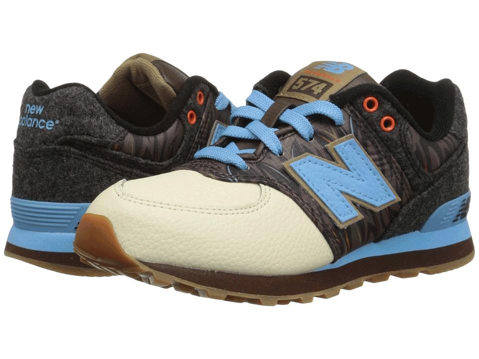 New Balance Kids 574 Deep Freeze (Little Kid) (Brown/Blue) Girls Shoes
