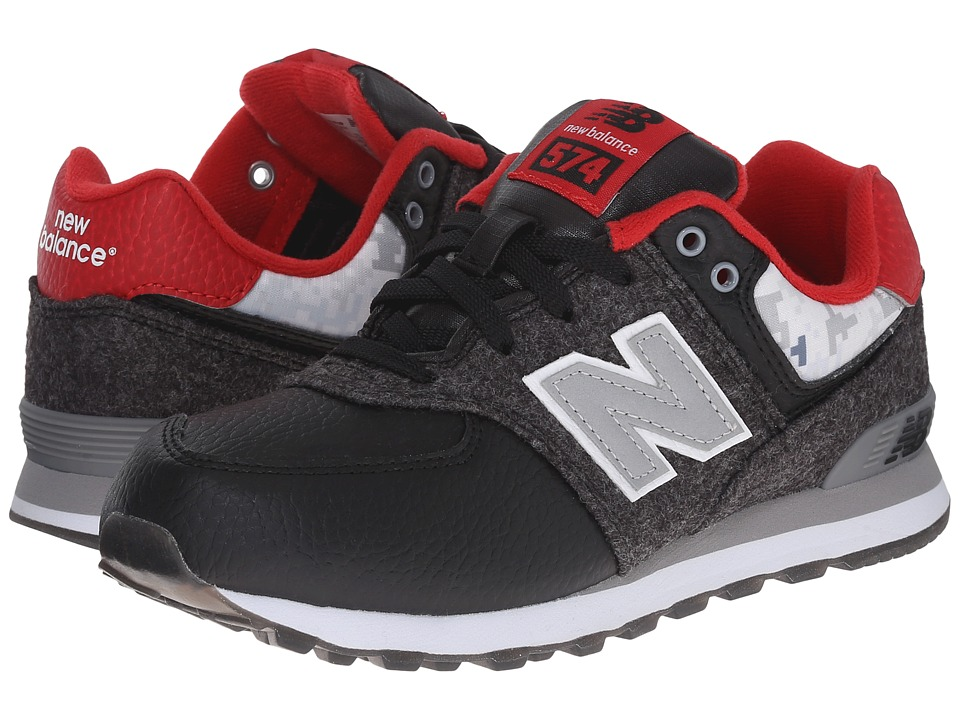 New Balance Kids - 574 - Deep Freeze (Little Kid) (Black/Red) Girls Shoes