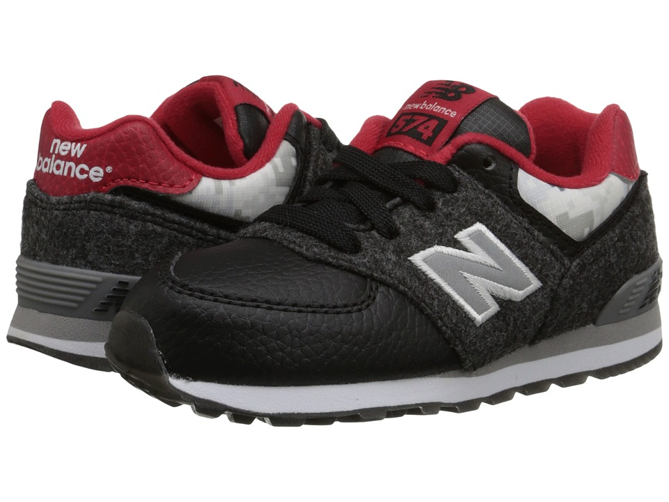 New Balance Kids - 574 - Deep Freeze (Infant/Toddler) (Black/Red) Kids Shoes