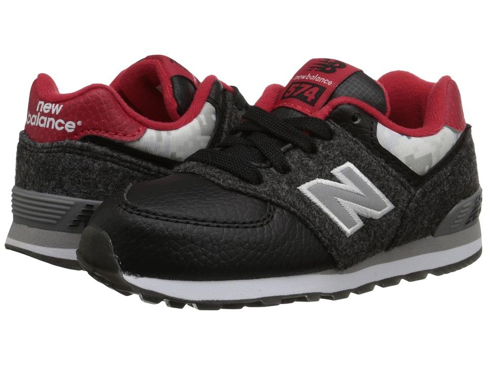 New Balance Kids 574 Deep Freeze (Infant/Toddler) (Black/Red) Kids Shoes