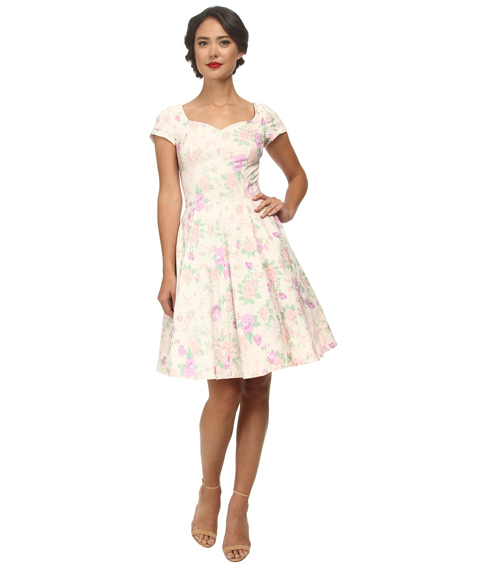 Unique Vintage - Short Sleeve Grace Dress (Floral Print) Women's Dress
