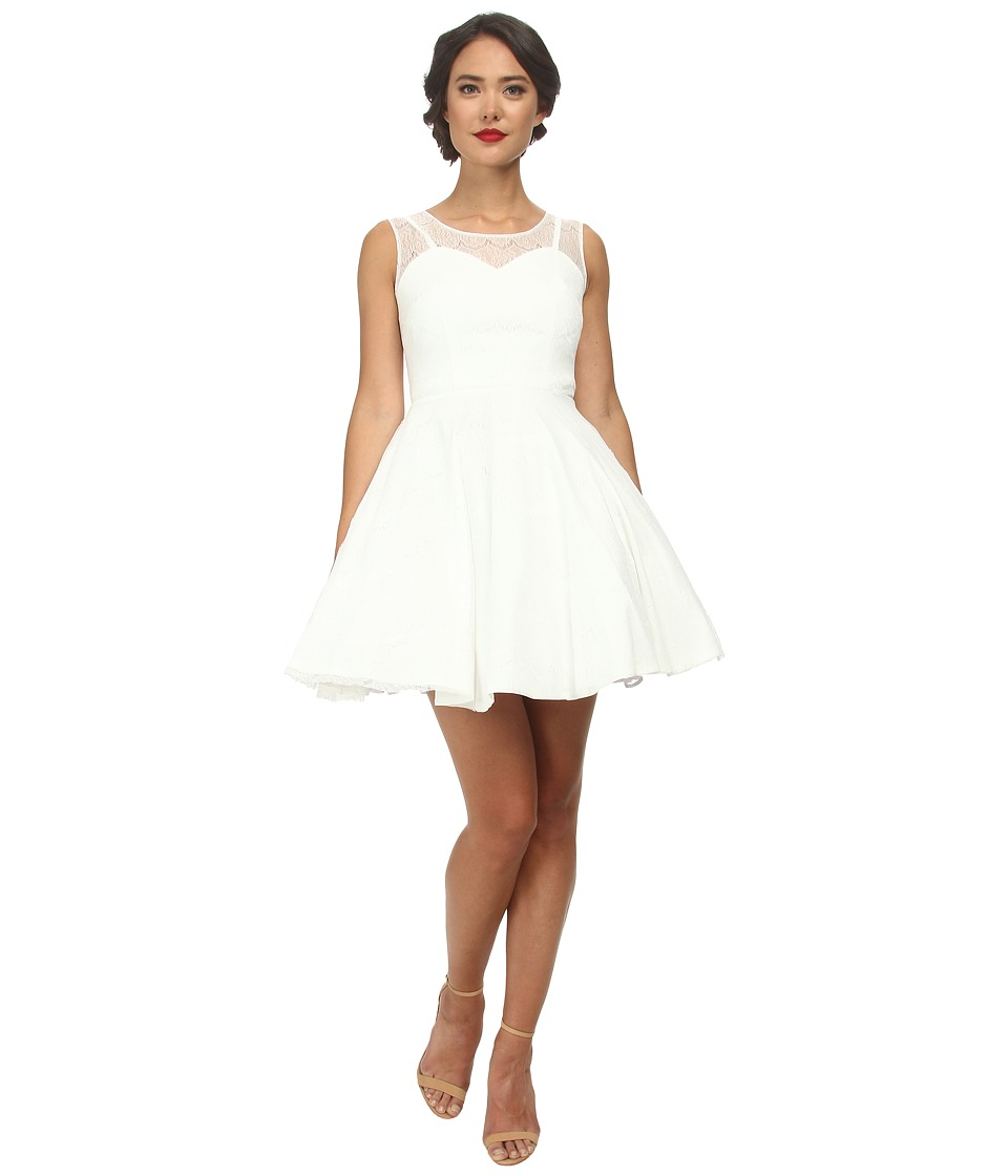 Unique Vintage - Short Lace High Society Dress (White) Women's Dress