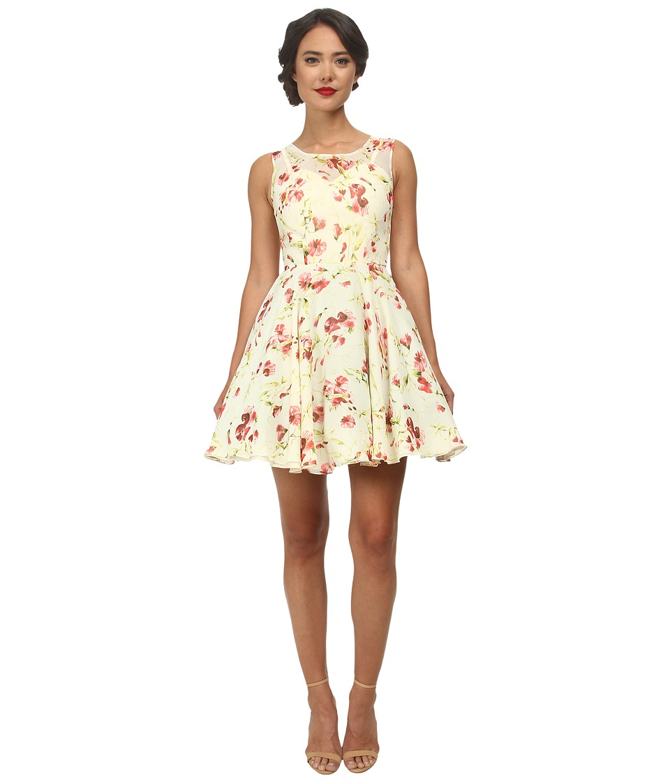 Unique Vintage Short Chiffon High Society Dress (Floral Print) Women
