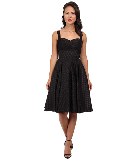 Unique Vintage - Happily Ever After Dress (Black Dotted) Women