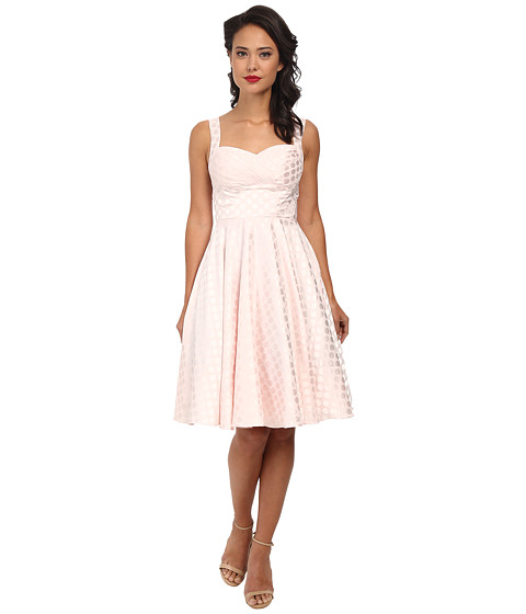 Unique Vintage - Happily Ever After Dress (Pink Dotted) Women