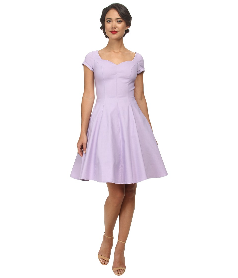 Unique Vintage - Short Sleeve Grace Dress (Light Purple) Women