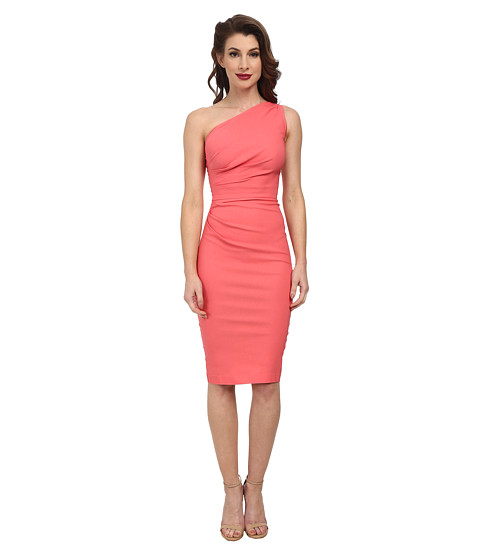 Stop Staring! - Gatthered Ava Fitted Dress (Coral) Women's Dress