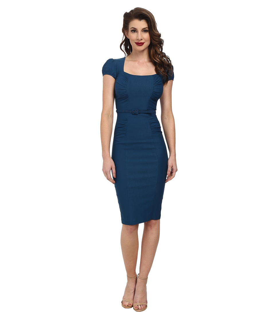 Stop Staring! - Lindsey Fitted Dress (Peacock Blue) Women's Dress