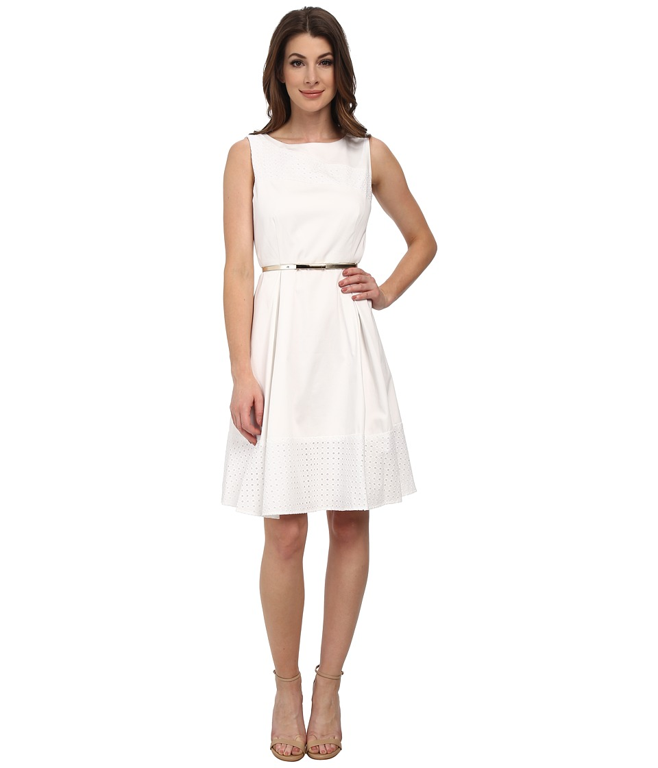 Calvin Klein - Fit Flare with Lace Insert (White/White) Women's Dress