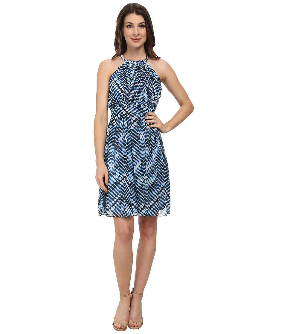 Calvin Klein - Halter Neck Chiffon Dress (Adriatic Blue Multi) Women's Dress