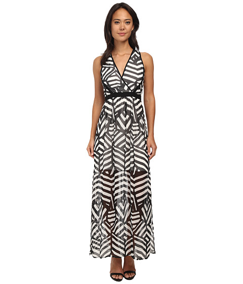 Calvin Klein - Chiffon Maxi (Black/Cream) Women's Dress