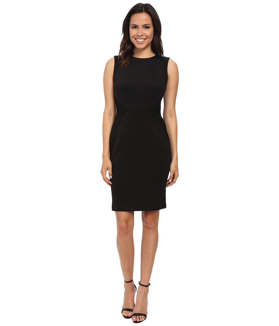 Calvin Klein - Sheath with Novelty Inserts (Black) Women's Dress