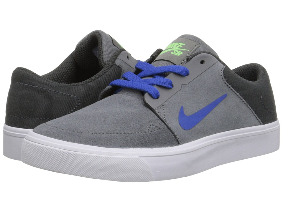 Nike SB Kids - SB Portmore (Big Kid) (Cool Grey/Anthracite/Green Strike/Game Royal) Boys Shoes