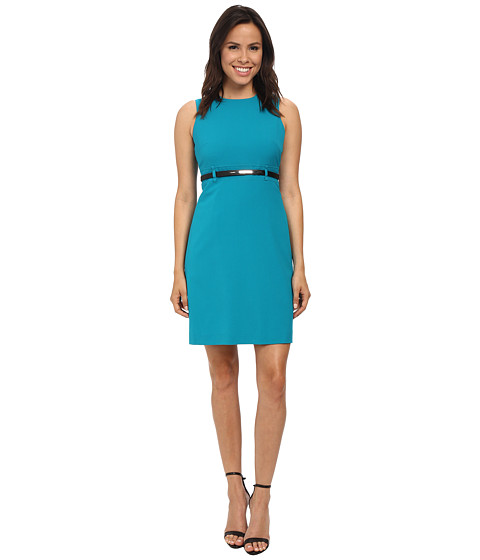 Calvin Klein - A-Line Dress Belted At Waist (Lagoon) Women