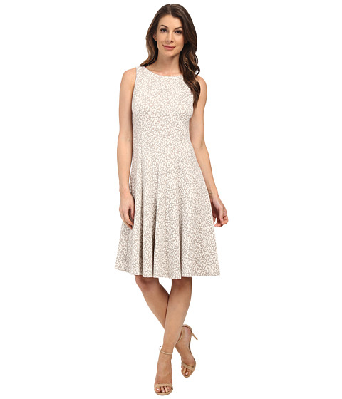 Calvin Klein - Textured Fit Flare (Khaki/Cream) Women's Dress