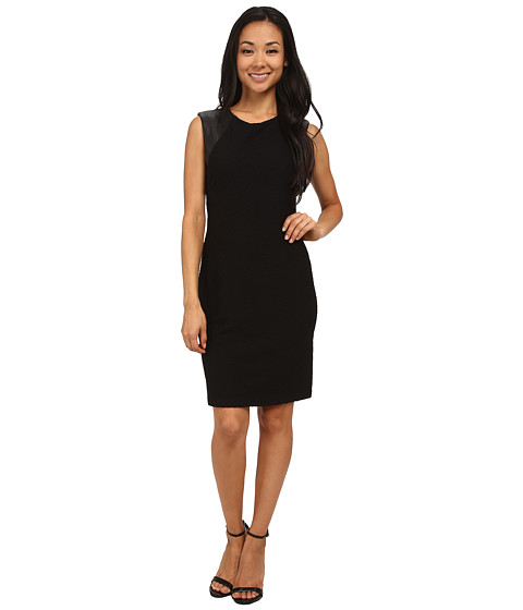 Calvin Klein - Textured Sheath with PU On Shoulder (Black) Women