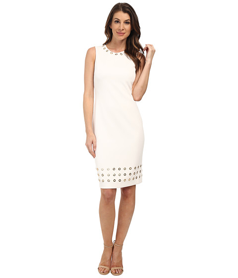 Calvin Klein - Sheath with Hardware Detail (Cream) Women's Dress