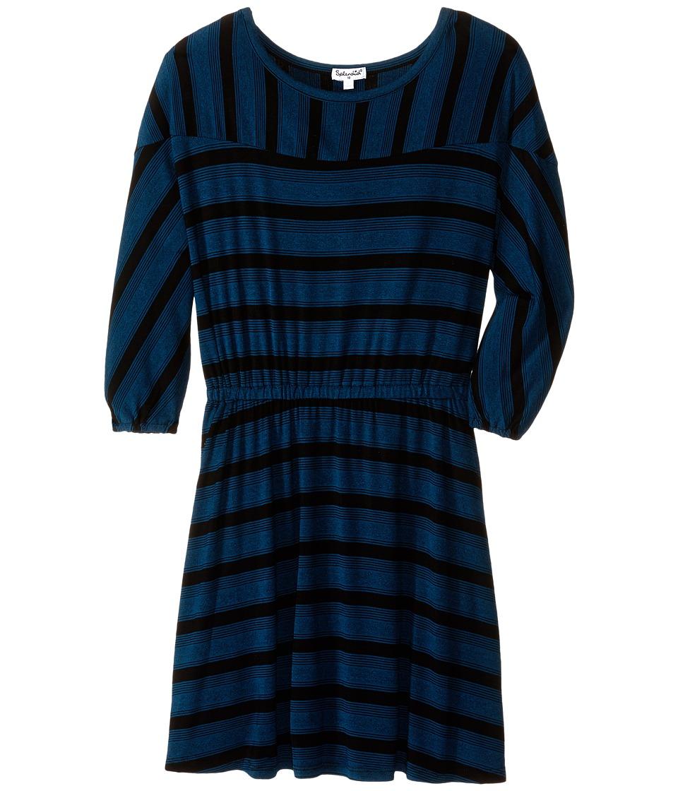 Splendid Littles - Fashion Stripe Dress (Big Kids) (Teal) Girl's Dress