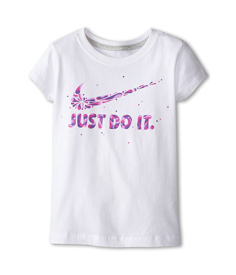 Nike Kids - Swoosh Just Do It Explode Short Sleeve Tee (Little Kids) (White) Girl