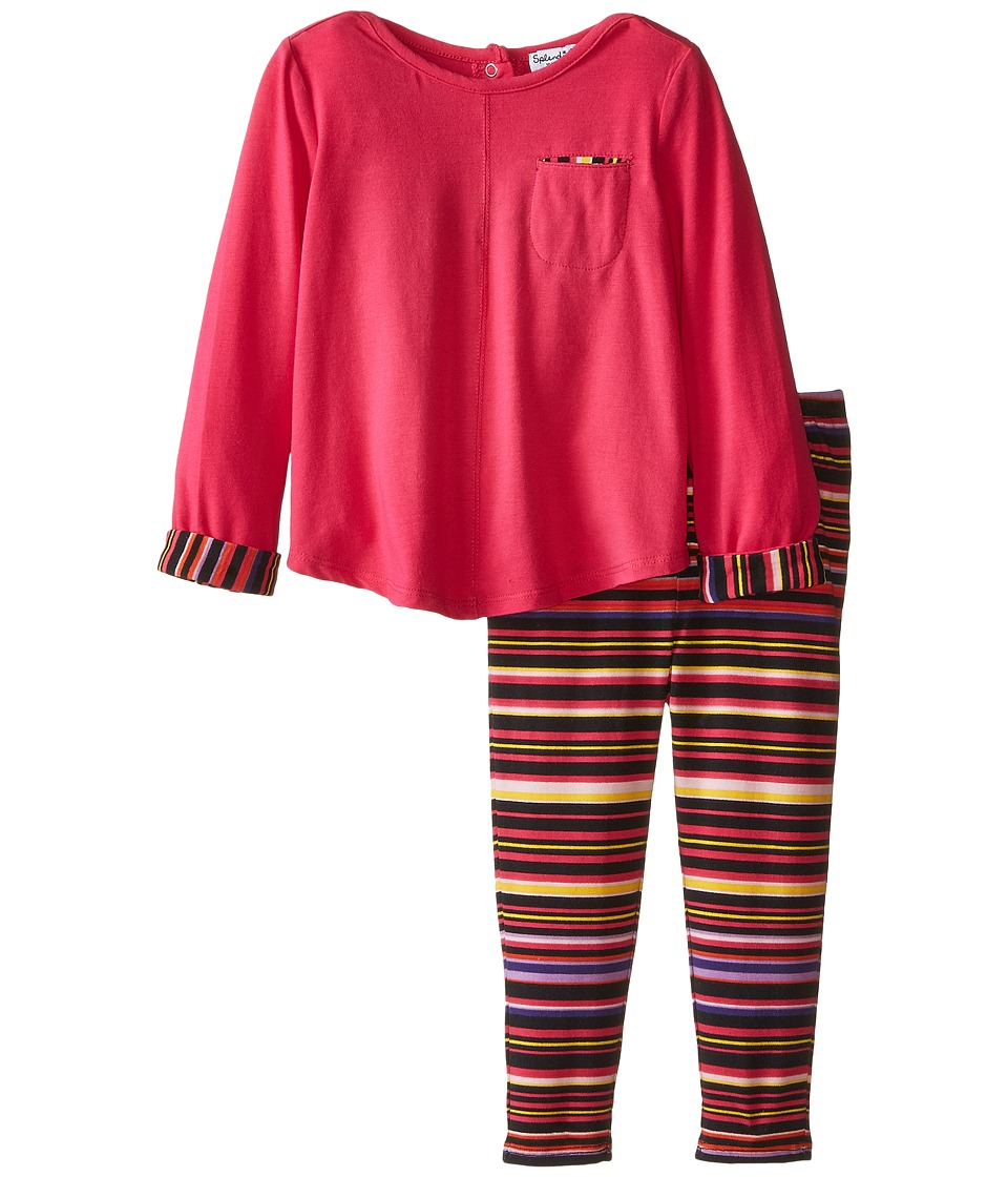 Splendid Littles - Chalk Stripe Pants Set (Infant) (Hot Pink) Girl's Active Sets