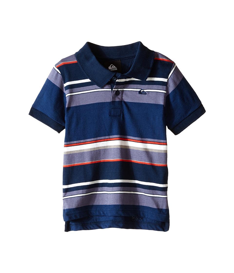 Quiksilver Kids - Decay Stripe Polo (Toddler/Little Kids) (Navy Blazer) Boy
