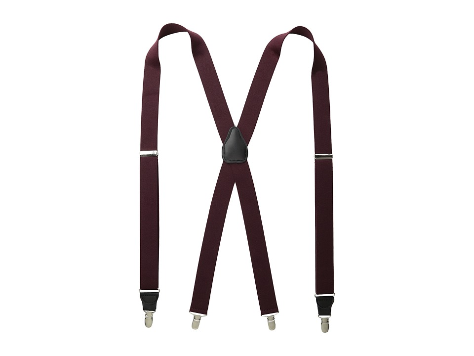 Stacy Adams - Clip-On Suspenders XL (Wine) Men's Belts