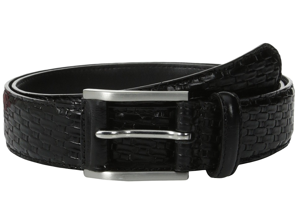 Stacy Adams - Embossed Basker Weave 32mm - Full Grain Leather Top (Black) Men's Belts