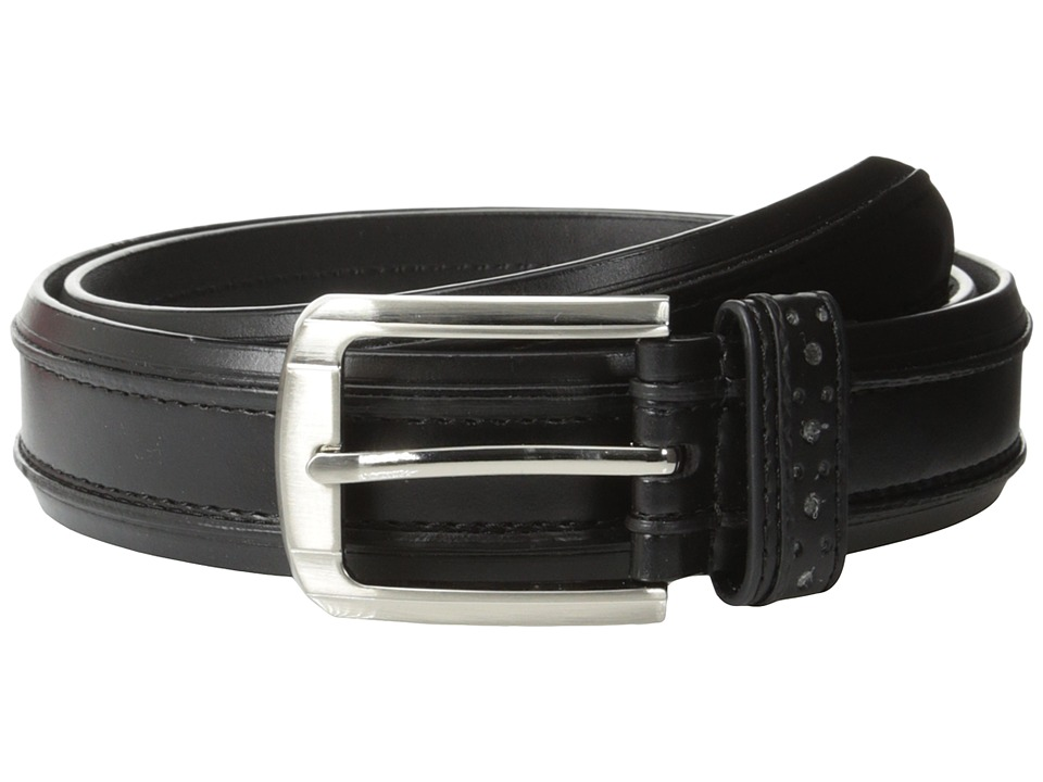 Stacy Adams - 32mm Genuine Leather Casual Belt w/ Raised Inner Edge (Black) Men's Belts