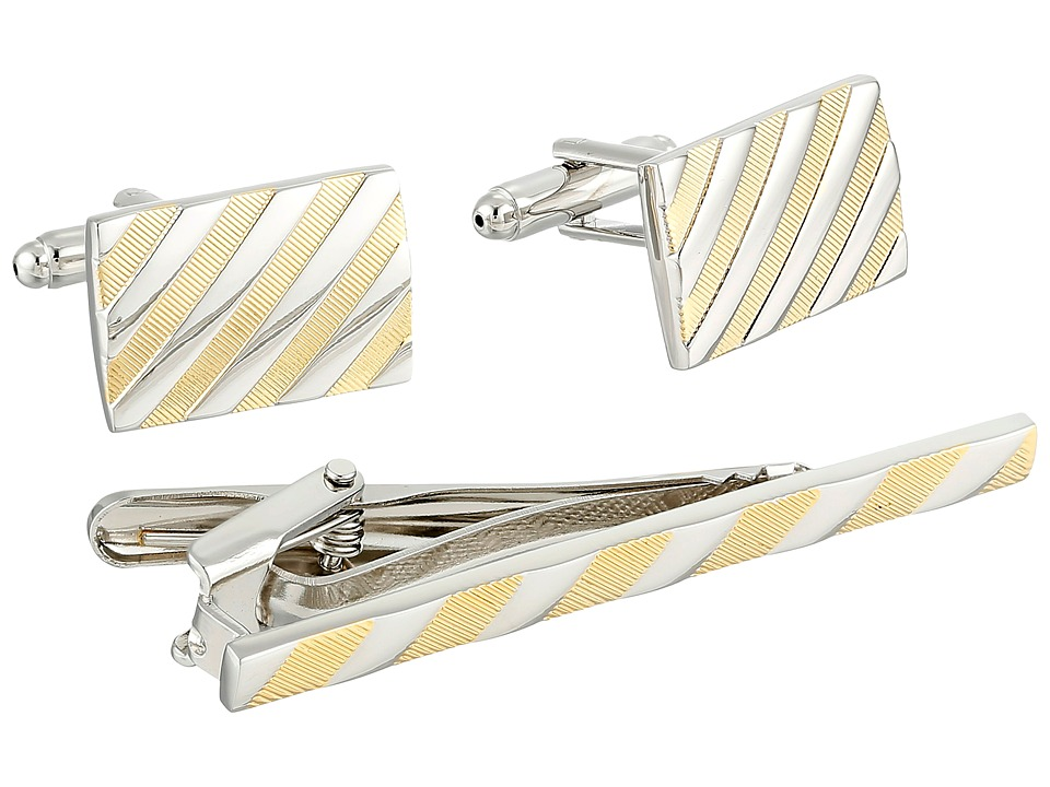 Stacy Adams - Link and Tie Bar Set (Silver/Gold) Cuff Links