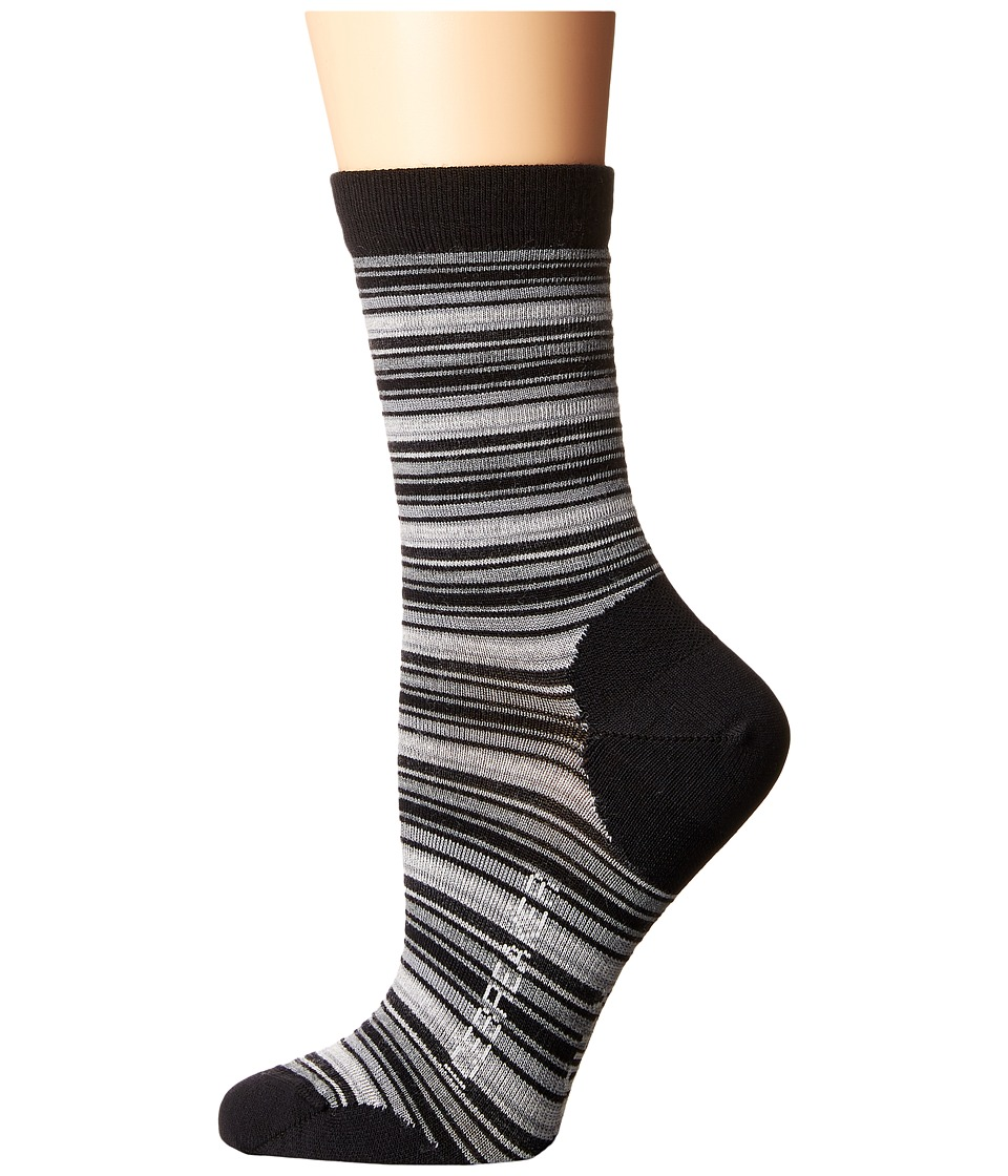 Icebreaker - Lifestyle Ultra Light 3Q Crew Stripe Tease 1-Pair Pack (Black/Twister Heather/Blizzard Heather) Women's Crew Cut Socks Shoes