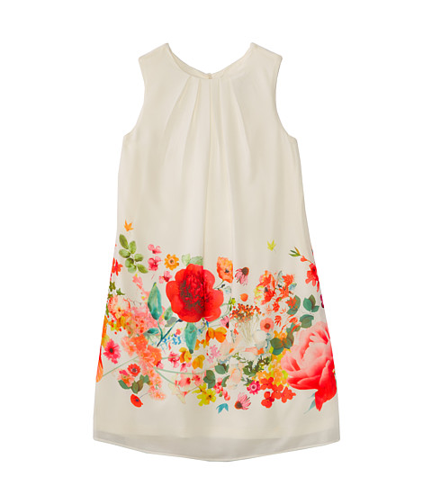 Us Angels - Sleeveless Trapeze w/ Border Print Dress (Big Kids) (Ivory) Girl
