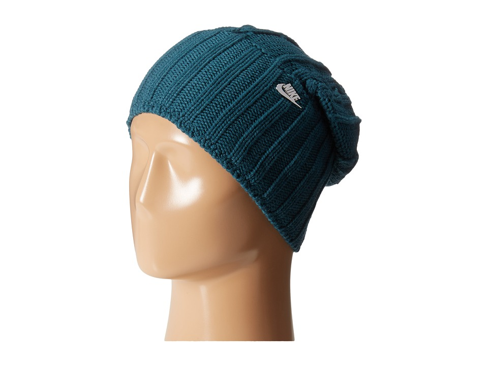Nike - Cable Knit Beanie (Teal/Metallic Silver) Beanies