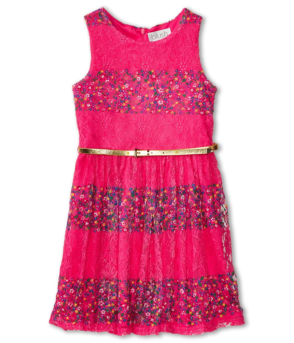 Us Angels - Belted Lace Print Dress w/ Full Skirt (Big Kids) (Fuchsia) Girl