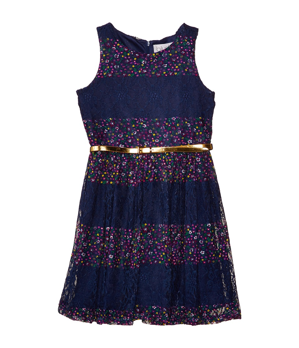 Us Angels - Belted Lace Print Dress w/ Full Skirt (Big Kids) (Navy) Girl's Dress
