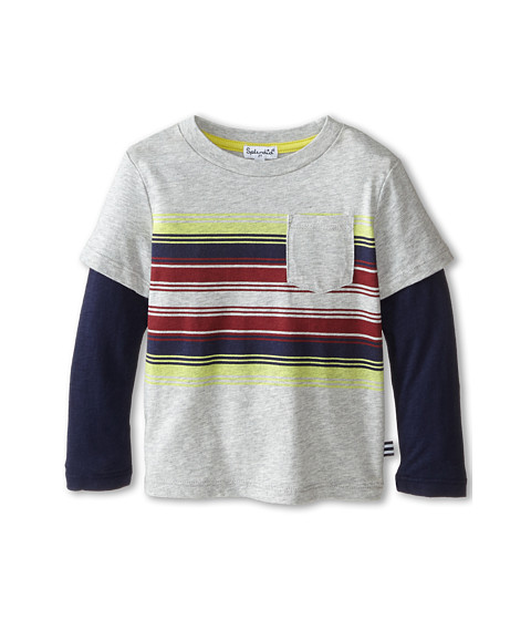 Splendid Littles - Long Sleeve Printed Stripe Tee (Toddler) (Grey Heather) Boy