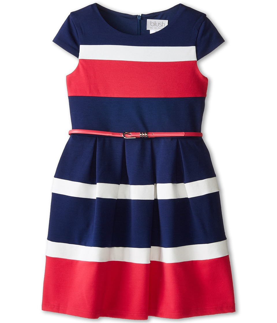 Us Angels - Cap Sleeve Color Block w/ Belt Full Skirt (Big Kids) (Navy) Girl's Dress