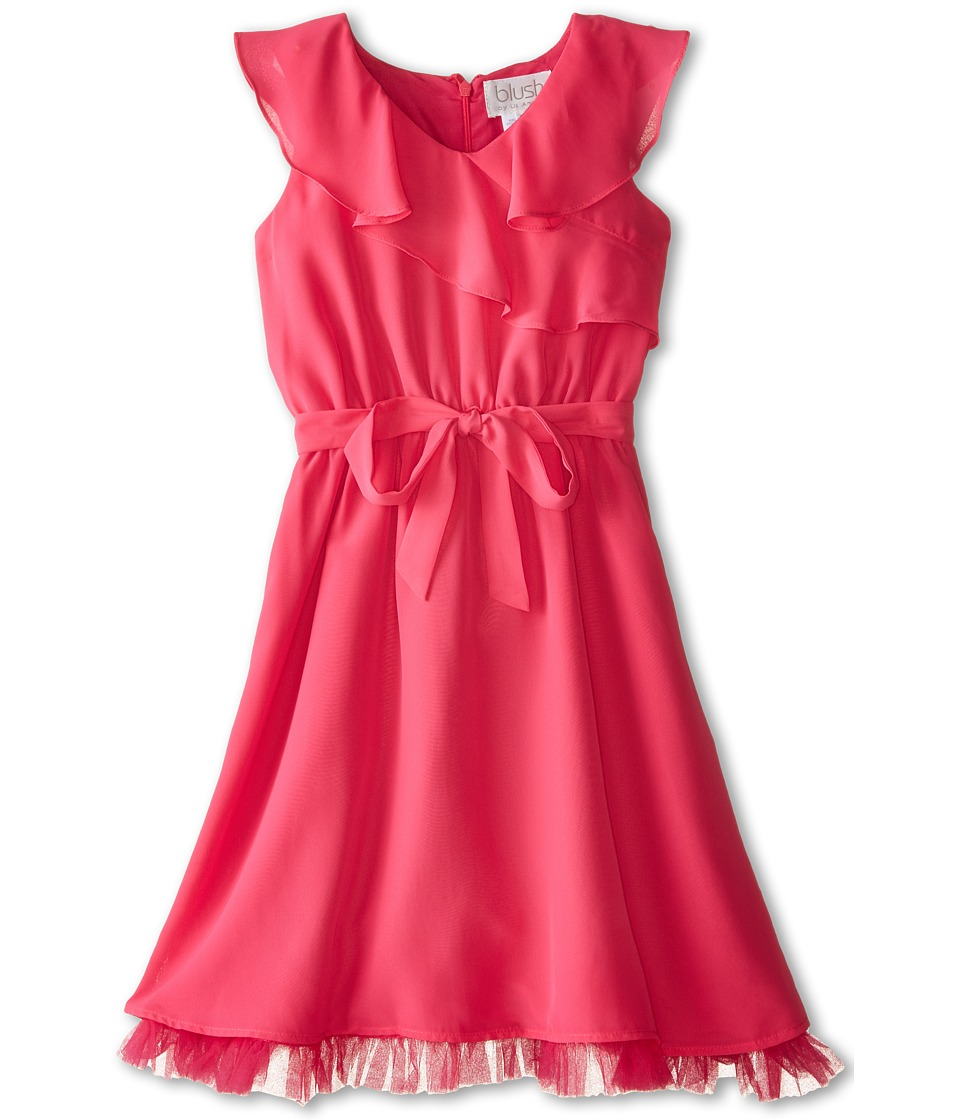 Us Angels - Sleevless Wrap Front w/ Full Skirt (Big Kids) (Fuchsia) Girl's Dress