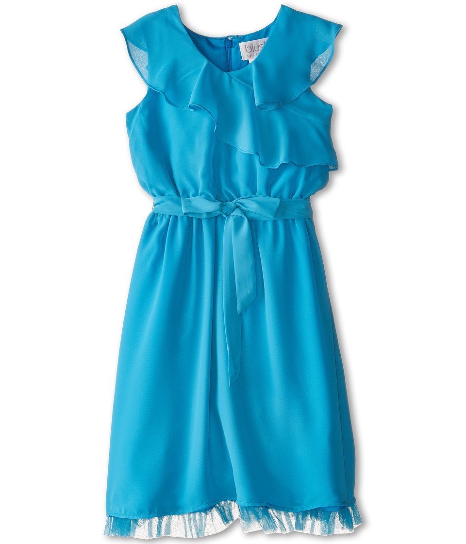 Us Angels - Sleevless Wrap Front w/ Full Skirt (Big Kids) (Teal) Girl's Dress