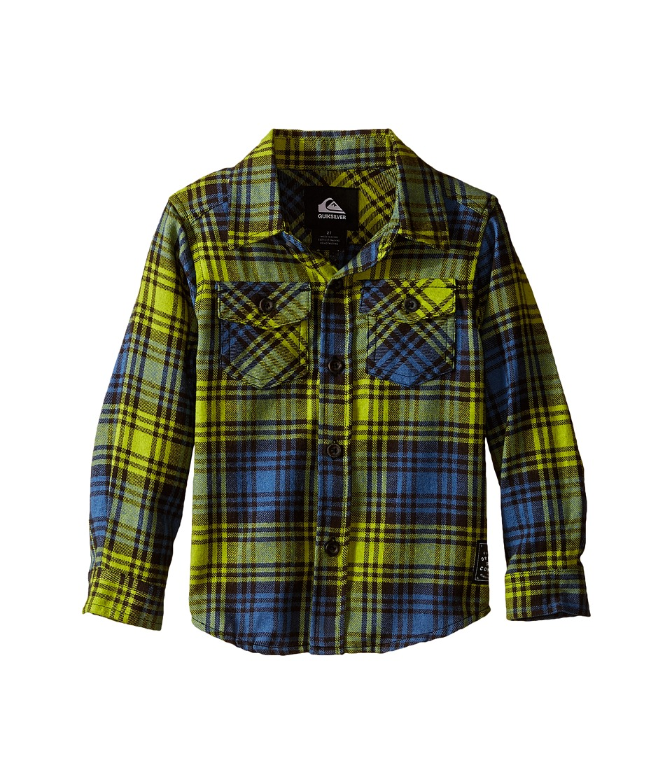Quiksilver Kids - Everyday Flannel Shirt (Toddler) (Macaw Green) Boy's Long Sleeve Button Up