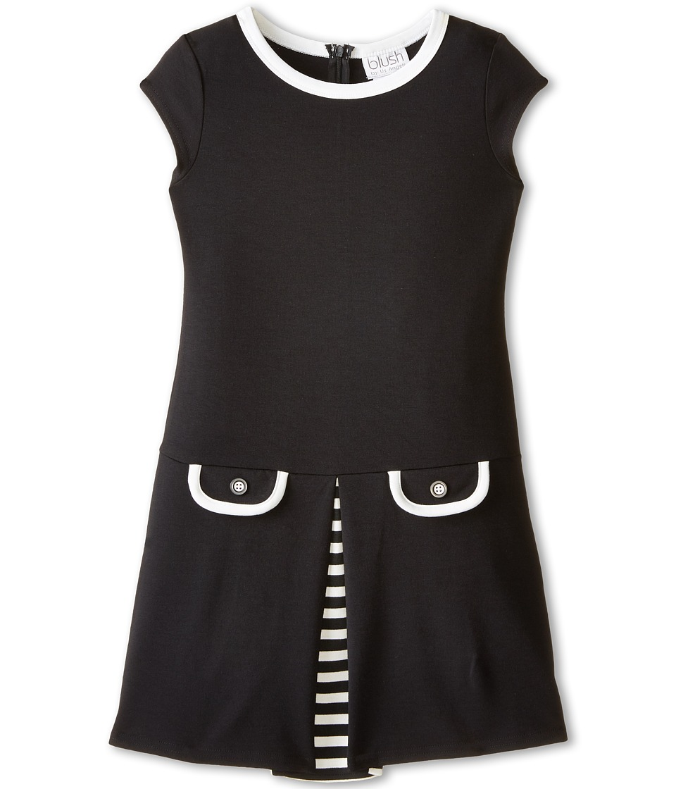 Us Angels - Cap Sleeve Ponte Drop Waist w/ Pocket Flaps Dress (Big Kids) (Black) Girl's Dress