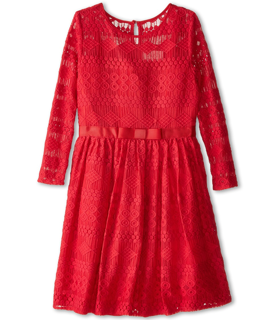 Us Angels - Geo Lace 3/4 Cap Sleeve Illusion Neckline w/ Belt Full Skirt (Big Kids) (Garnet) Girl's Dress