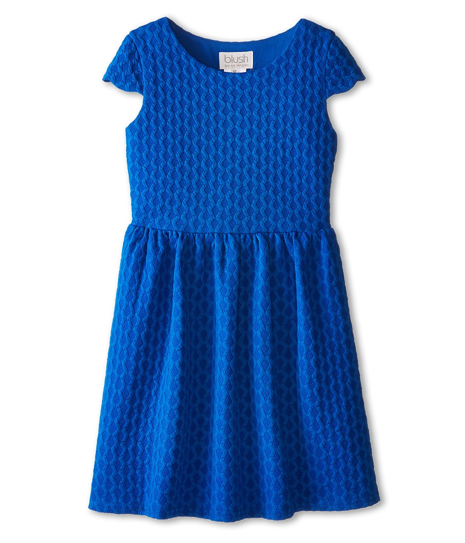 Us Angels - Scallop Cap Sleeve w/ Peek-A-Boo Back Dress (Big Kids) (Blue) Girl's Dress